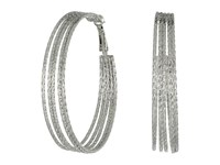 Guess Multi Wire Textured Clutchless Hoop Earrings Silver Earring