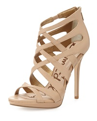 Sam Edelman Erin Leather High Heel Platform Bootie Classic Nude