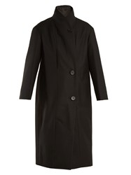 Christophe Lemaire High Neck Single Breasted Cotton Twill Coat Black