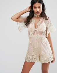 Love And Other Things Lace Playsuit Pink