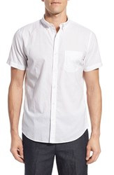 Bonobos Men's Slim Fit Short Sleeve Chambray Sport Shirt Bright White