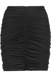 Norma Kamali Gathered Jersey Mini Skirt Black