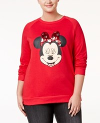 Freeze 24 7 Trendy Plus Size Minnie Mouse Sweatshirt Red