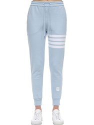 Thom Browne Intarsia Stripes Cotton Sweatpants Light Blue