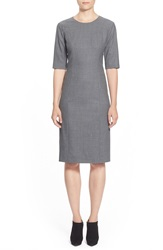 Pink Tartan Stretch Wool Flannel Shift Dress Grey