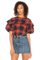 Bcbgeneration Ruffle Overlay Top Red