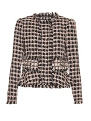 Rebecca Taylor Collarless Tweed Jacket Black Cream