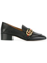 Gucci Gg Web Low Heel Loafer Pumps Black