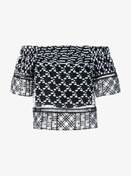 Jonathan Simkhai Off Shoulder Embroidered Top Black White