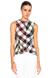 Victoria Beckham Bounce Gingham Sleeveless Godet Top In Green Red Checkered And Plaid