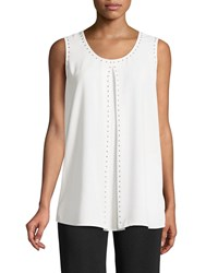 Misook Stud Trim Tank W Vented Front White