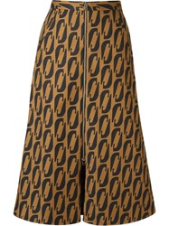 Andrea Marques Printed Midi Flared Skirt Brown