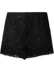 Valentino Studded Heavy Lace Shorts Black