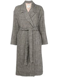 Semicouture Belted Plaid Coat Black
