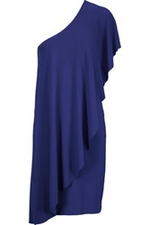 Norma Kamali One Shoulder Stretch Jersey Mini Dress Royal Blue