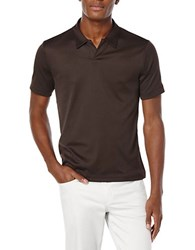 Perry Ellis Big And Tall Open Placket Polo Dark Brown