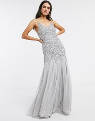 Maya Strappy Delicate Sequin Fishtail Maxi Dress In Soft Grey