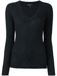 James Perse V Neck Jumper Black