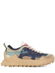 Off White 40Mm Odsy Mesh And Leather Sneakers Nude