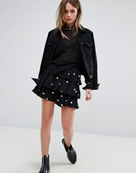 Motel Ruffle Mini Skirt In Spot Black