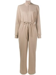 Maryam Nassir Zadeh Drawstring Waist Jumpsuit Nude And Neutrals