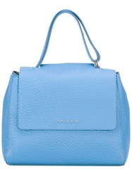 Orciani Small Logo Plaque Tote Blue