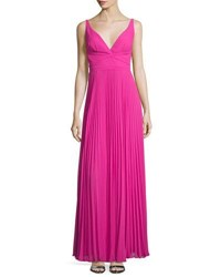 Laundry By Shelli Segal Sleeveless V Neck Plisse Gown Electric Pink