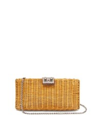 Rodo Leather Trimmed Wicker Clutch Bag Brown