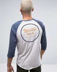 Brixton Wheeler 3 4 Sleeve T Shirt With Back Print White