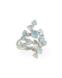 Aquamarine And White Diamond Bubble Cluster Ring Paul Morelli White Pink