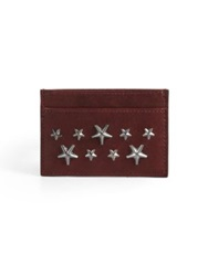 Jimmy Choo Stars Leather Card Case Burgundy