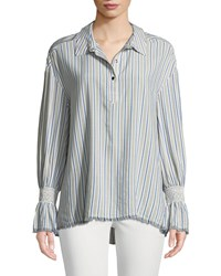 Laundry By Shelli Segal Striped Smocked Cuff Button Front Blouse Gray