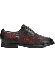 Sartori Gold Embroidered Derby Shoes Black
