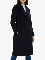 Jaeger Tailored Wool Trench Coat Navy