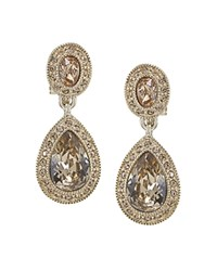 Carolee Pave Teardrop Clip On Earrings Gold