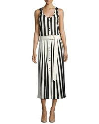 Nina Ricci Sleeveless Striped Midi Dress White Black