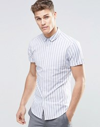 Asos Skinny Shirt In Bold Blue Stripe With Short Sleeves Blue
