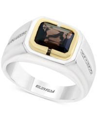 Effy Men's Smoky Quartz 1 7 8 Ct. T.W. And Diamond 1 8 Ct. T.W. Ring In Sterling Silver And 14K Gold Brown
