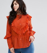 Lovedrobe Dotty Lace Shirt With Ruffle Detail Red