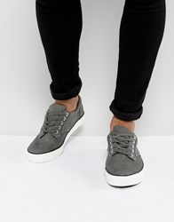New Look Canvas Lace Up Plimsolls In Grey Dark Grey