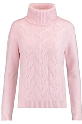 N.Peal Cashmere Cable Knit Wool And Cashmere Blend Turtleneck Sweater Baby Pink