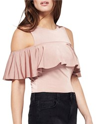 Miss Selfridge Ruffle Cold Shoulder Playsuit Taupe