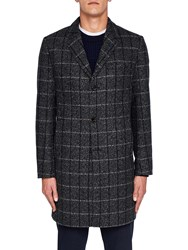 Ted Baker Ando Check Overcoat Charcoal