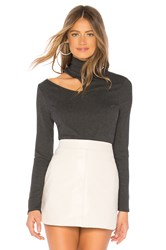 1.State Mock Neck Rib Top Charcoal