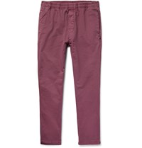 Stussy Tapered Overdyed Cotton Twill Trousers Purple