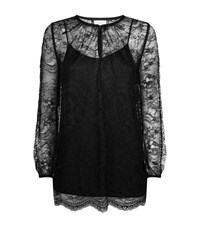 Escada Sport Sheer Lace Long Sleeve Blouse Female Black