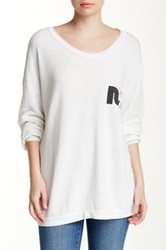 Rebel Yell Rainbow Crest Strokes Oversized Pullover White