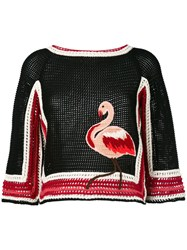 Red Valentino Knit Flamingo Top Women Cotton Acrylic Wool Xs Black