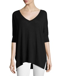 Neiman Marcus Cotton V Neck Dolman 3 4 Sleeve Sweater Black