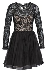 Sequin Hearts Women's Tie Back Glitter Lace Fit And Flare Minidress Black Mauve